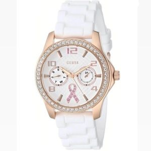 GUESS-ROSE GOLD-TONE BREAST CANCER AWARENESS WATCH